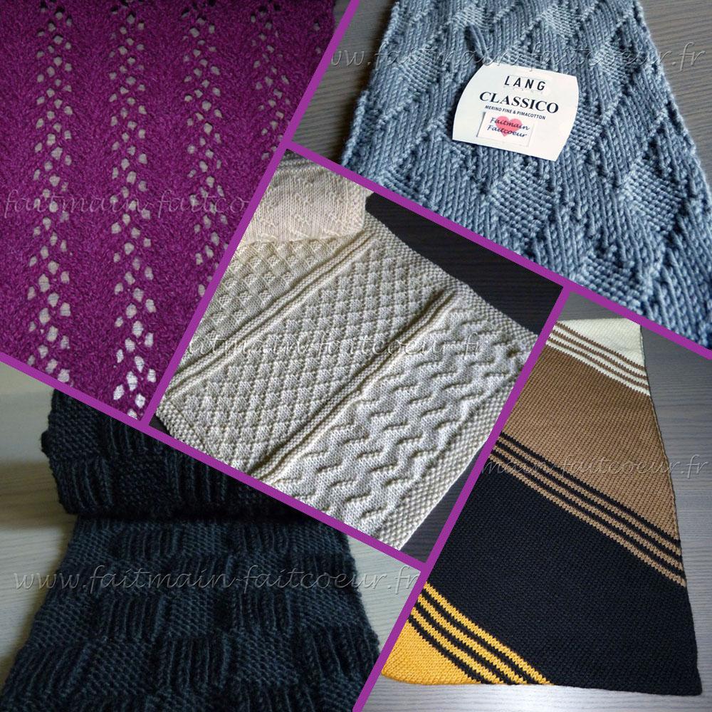 Echarpes tricotées pour noël