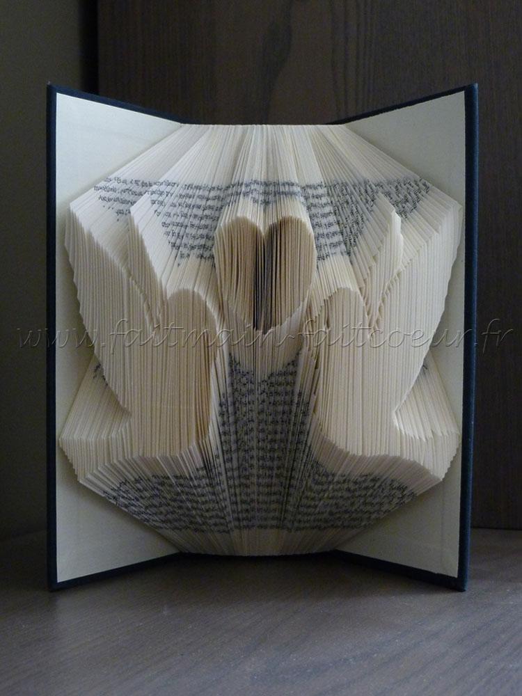 Livre plié oiseaux amoureux