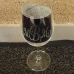 Monogram etched on wine glasses