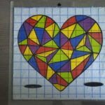 Sticker coeur vitrail multicolore